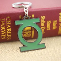 Wholesale Green Lantern Ring Jewelry - DC Comic Green Lantern Logo 2 Key chain ring NEW & HOT Combine movie jewelry 12 Pcs lot Free Shipping