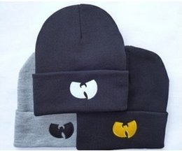 Wholesale Yarn For Sale Wholesale - Wu Tang Shoalin Embroidery Beanie Sports Winter Acrylic Knitted Head Ear Warmer Hats For Adults Womens Mens Skull Sports Cool Snow Cap Sale