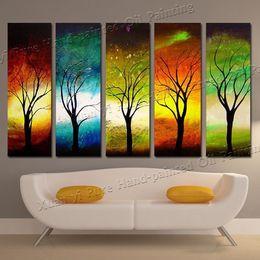 abstrakte leinwand gemälde zum verkauf Rabatt Handgemalte 5 stück moderne 4 Saison Baum Wandkunst Bilder Abstrakte Ölgemälde Auf Leinwand Für Verkauf Dekoration Kein Gestaltet