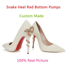 Wholesale White Rhinestone Pointed Toe Pumps - White Pearls Rhinestone Wedding Bridal Shoes For Brides Prom Party Evening Women Dress Shoes Fashion Red Bottom Stiletto Snake Heels Pumps