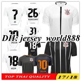 Wholesale Brazil Soccer - TOP QUALITY 17 18 Corinthianss jersey soccer 3RD home white 2017 JO JADSON M.GABRIEL KAZIM CAMACHO away black Brazil club Football Shirt