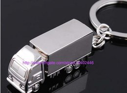 Wholesale Key Chain Funny - 50pcs Cool Creative Fashion container truck Metal Keychain Ring Keyring Key Chain Ring Silver Fob Funny Gift Promotion