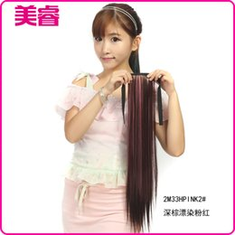 Wholesale Hot Pink Hair Dye - Factory wholesale 337-2M33HPINK2 # dark brown straight hair dyeing color pink ponytail ponytail long straight hair dyeing Hot