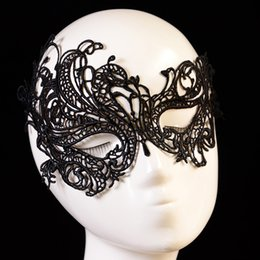 Wholesale Face Mask Woman Sex - Lady Adult Sexy Lace Mask Black Gothic Openwork Half Face Cutout Masquerade Sex Mask for Party Women Adult Games Sex Toy q1711245