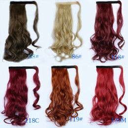 Wholesale Cheap Hair Bows Free Shipping - Cheap Price Retail 45CM Drawstring Ponytail Hair Extensions Synthetic Hair Invisable Ponytails 18 Colors Available Free Shipping