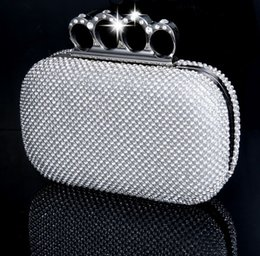 Wholesale Bridal Ring Pillows - New Gift Fashion Wedding Bridal Handbags Prom Crystal Rhinestone Diamond Ring Knuckle Evening Clutch Bag Shoulder Purse Wallet Cocktail Box