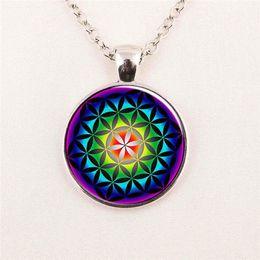 Wholesale Pendant Flower Life - Wholesale Picture Flower of Life Pendant Chakra Necklace Sacred Geometry Jewelry Art Glass Cabochon pendant glass gemstone necklace 111