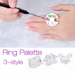 Wholesale Painting Finger - New Nail Art Metal Finger Ring Palette Acrylic Gel Polish Holder Painting Drawing Mini Color Paint Dish Glue Palettes Tool 2017