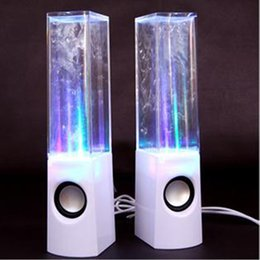 Wholesale Dancing Water Speaker Active Portable - Dancing Water Speaker Active Portable Mini USB LED Light 3D Sound Speaker For iPhone iPad MP3 4 PSP DHL Free MIS105
