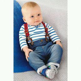 Wholesale Boys Jean Sets - Spring and autumn children's clothing set baby boy cotton striped romper + jean pants 2pcs suit infant denim clothing