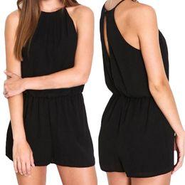 Wholesale Clubwear Black Romper - S5Q Summer Woman's Slim Sexy Chiffon Sleeveless Bodycon Jumpsuit Romper Clubwear AAAEVF
