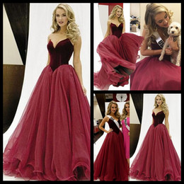 Wholesale Top Pageant Gowns - Gorgeous Wine Red A Line Prom Dresses 2016 Velvet Top Bodice Sweetheart Sleeveless Ruched Organza Evening Gowns For Pageant Party Dress