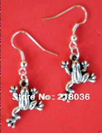 Wholesale Antique Sterling Charms - 50Pair Fashions 925 Sterling Earring Antiques Silver Little Frogs Eardrop Drop Dangle Earrings Charms DIY Making Jewelry For Women M2758
