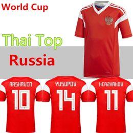 2019 futebol russo 2018 copa do mundo Rússia Camisas de Futebol 2018 copa do mundo Russo Casa uniforme de Futebol vermelho Qualidade Thai Kokorin Dzyuba Smolov Camisas de Futebol desconto futebol russo