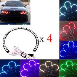 Wholesale Bmw E46 Multi - 4*131mm 42 SMD 5050 LED Car Angel Eyes Remote Control Kit Xenon Head light RGB Multi-color for BMW E36 E38 E39 E46 3 5 7