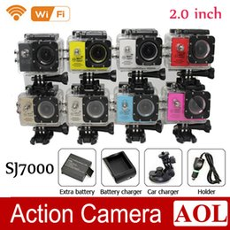 Wholesale Wholesale Used Car Batteries - SJ7000 Waterproof WiFi Action Camera +Battery Charger+bracket +Car Charger 1080P Full HD Sports Camera Diving Video Helmet Camcorder Car DVR