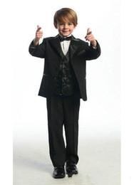Wholesale Boys Wool Tuxedo - 2015 Hot Sale Black Kid Boy Suits Wedding Dress Boy's Attire Groom Tuxedos boys wedding suit (Jacket+Vest+Pants+Tie)