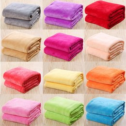 Wholesale Baby Warming Blanket - Warm Coral Plaid Baby Blankets Travel Flannel Rug Sofa 12 Solid Color Fleece Blankets 17111802