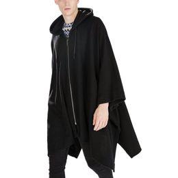 Wholesale- New Fashion Gothic Clothing British Style Fashion Mens Wool Cloak  Cape Long Black Hooded Trench Coat Men Windbreaker Overcoat 7372e5923