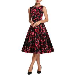 Wholesale Print Audrey - 2016 Audrey Hepburn Vestido S-4XL Plus Size Women Summer Rose Print Retro Casual Party Robe Pinup Rockabilly Vintage Dresses
