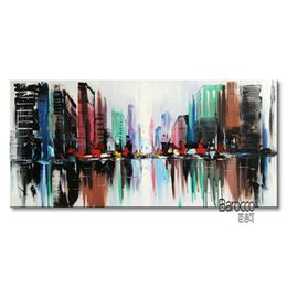 Wholesale Hand Painted Scenery Oil Painting - Abstract Color Cityscape Street 100% Hand Painted Scenery Oil Painting Modern Fashion Home Wall Art Decoration