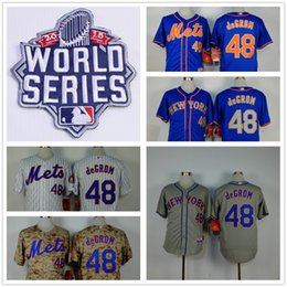 Wholesale Wholesale Order World - 2015 World Series Patch 48 Jacob deGrom New York Mets Home Road Wholesales Cheap American baseball jerseys Embroidery Logo Mix Order