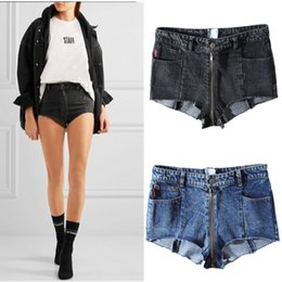 Wholesale Tight Cowboy - 2017 new summer vetements shorts Long zipper sexy tight Bull-puncher knickers Tall waist Show thin woman cowboy Hot pants