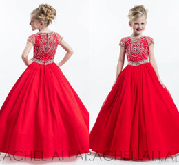 Wholesale Short Girls Chiffon Pageant Dresses - 2017 New Girls Pageant Dresses Red Crystal Beaded Chiffon Jewel Neck Cap Sleeves Long Kids Flower Girls Dress Birthday Gowns For Wedding