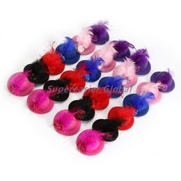 Wholesale Mini Top Hats Children - 24pcs lot Mini Top Cap Hair Clip Feather Flower Hat Fascinator Fashion Party Girl Hair Accessories Christmas Decor Children Headwear