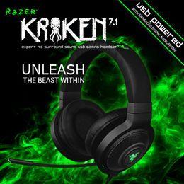 Wholesale Wireless Razer - Wholesale-Razer Kraken 7.1, Virtual 7.1 Surround Sound USB Gaming Headset, Brand new Gaming Headphone, Free shipping