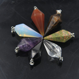 Wholesale Pendulums For Dowsing - Pendants Necklaces Healing Crystals Gemstone Crystal Pendulum Healing Chakra Dowsing Reiki Pendant For Necklace
