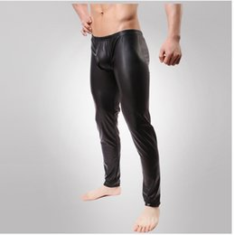 Wholesale Sexy Clothes For Men - Wholesale-Fashion Cockcon Pant Faux leather pants compression tights mens clothing Sexy lingerie For men Latex stage costume performance