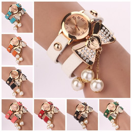 Wholesale Chains Wrist Watch - New Arrival wrap Around Bracelet Watch pearl Bowknot Crystal Imitation leather chain women's Quartz wrist watches Free Shipping