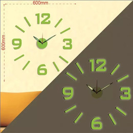 Wholesale Meeting Live - 2017 Free Shipping 3D big size simple Luminous wall clock Acrylic watch DIY brief living room decor meeting room wall clock