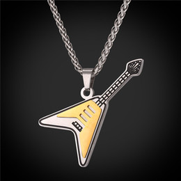 Wholesale Punk Music - U7 Electric Guitar Pendants Necklaces Two Tone Enamel Stainless Steel Gold Plated Necklace Chain For Men Punk Rock Music Necklace GP2533