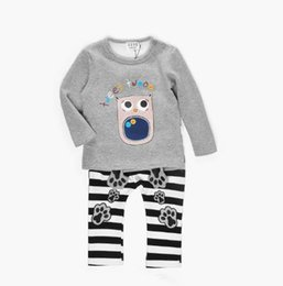 Wholesale Owl Pcs Set Baby - Baby Clothing Set Outfits Long Sleeve Cartoon Owl Pattern Tops Hooded + Striped Pants 2 pc Suits Velvet Autumn Warm Sets Grey