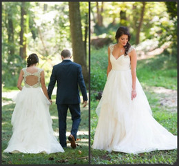 Wholesale Sheer Back Aline Wedding Dress - 2016 Wedding Dresses Aline Applique Spaghetti Open Back With Crystal Sash Tulle Sweep Train Vestido De Novia Bridal Dress Plus Size WWL