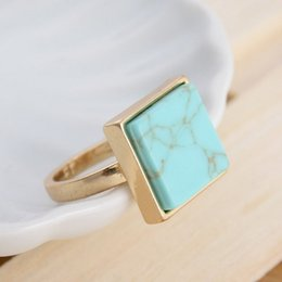 Wholesale Fashion Cocktail Ring Free Shipping - DHL Free Shipping Wholesale Size 7 2015 New Trendy Fashion 18k Gold Plated Square Cocktail Natural Stone Marble Ring for Women Jewelry