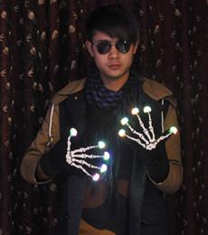 Wholesale Dancing Gloves For Men - LED Magic Gloves New LED Rave Finger Lighting Blink Flashing Gloves for Dance Party Holloween Skull Gloves flare light gloves gifts