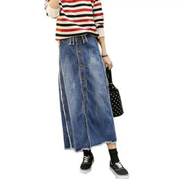 Wholesale Long Female Jeans Skirts - New Plus Size 9XL Breasted Relaxed Casual Denim Jeans Skirts Long Maxi Female Spring Summer For Womens Skirt faldas mujer S02