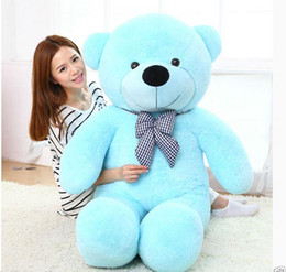 Wholesale Red Stuffed Bear - Wholesale cheap 80CM Giant Bow tie Big Cute Plush Stuffed Teddy Bear Soft 100% Cotton Toy  7 color options blue  brown  Rose Red  pink  purp