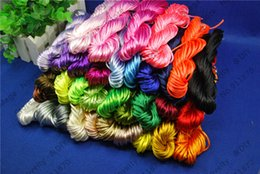 Wholesale Satin Rattail Cords - Wholesale-Multi 2mm 100M 20M*5pcs Kumihimo Cords Chinese Knot Cord Rattail Satin Braided String DIY Cords Jewelry Making Beading Rope ds5