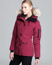 Wholesale Women S Goose Down Coats - Canadian Parka Women 2017 New Thick WARM White Duck Down Coats Berry Black Navy Red Colors Fur Hood Coats Jackets