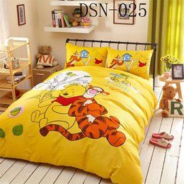 Wholesale Winnie Pooh Comforter Sets - Cartoon Winnie Pooh and Tigger Full Queen King Size 100%Cotton 4pcs bedding sets Bed in a bag  sheet duvet cover pillowcase Bedding Supplies