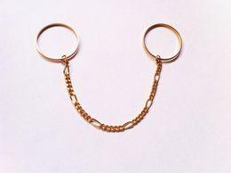 Wholesale Chain Double Finger Ring - trade original single fine jewelry copper ring tassel chain double finger ring female F112