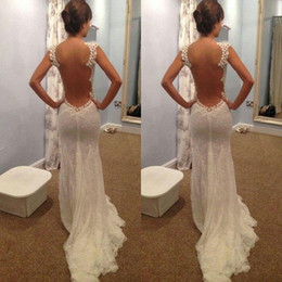 Wholesale Bridal Party Robes - 2016 Sexy Backless Wedding Dress Mermaid Illusion Bodice Lace Court Train Celebrity Party Dresses Bridal Gowns Robe de marriage