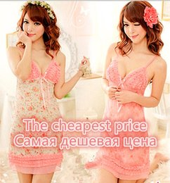 Wholesale Transparent Pyjamas - 151204 Sexy lingerie Women sexy underwear transparent flower women suspenders nightdress hot sexy little perspective Pyjamas sexy set