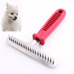 Wholesale Cheap Hair Trimmers - Dog Rake Comb Hair Removal Grooming Trimmer Pet Dog Cat Steel Pins Professional Sided Pet Hair Comb Cheap Dog Styling Tools