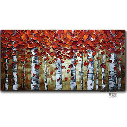 Wholesale Art Birch - Silver Birch 100% Hand Painted Palette Knife Landscape Oil Painting Modern Fashion Home Wall Art Decoration