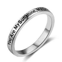 Wholesale Romantic Anniversary Gifts - Size 6 7 8 You Are My Only Sunshine New 925 Sterling Sliver Rings for Women Fairy&Romantic Style Jewelry